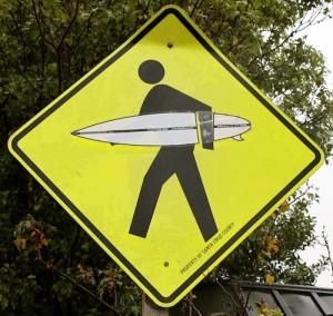 Surfer Crossing sign typifies the culture of Santa Cruz